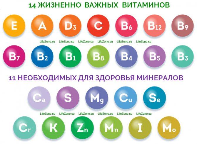 14 вітамінів, 11 мінералів
