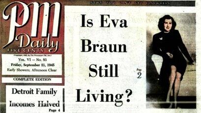 Єва Браун під охороною двох Американських офіцерів.