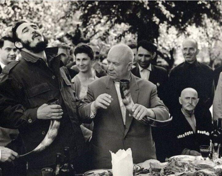 Зустріч Микити Хрущова і Фіделя Кастро в Грузії, 1963 рік.