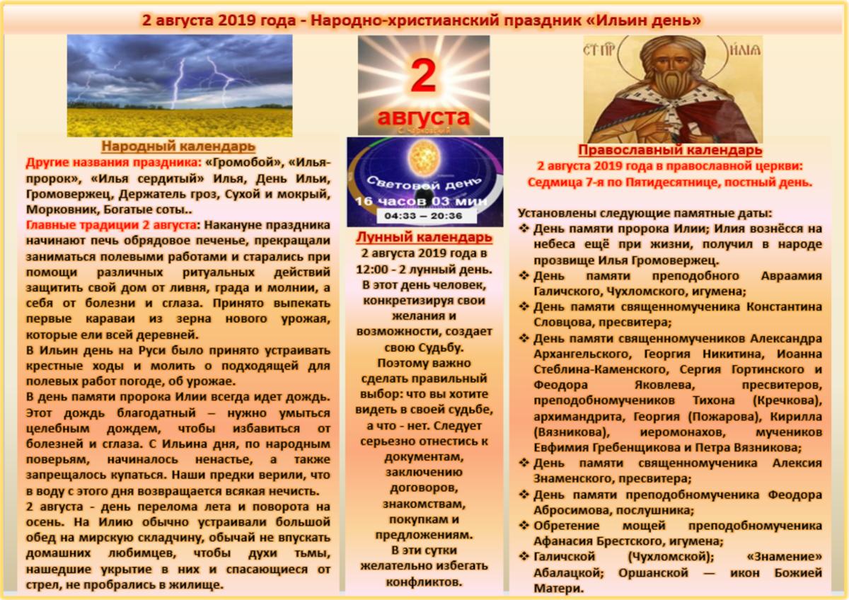 2 серпня Народні свята, традиції, звичаї та прикмети