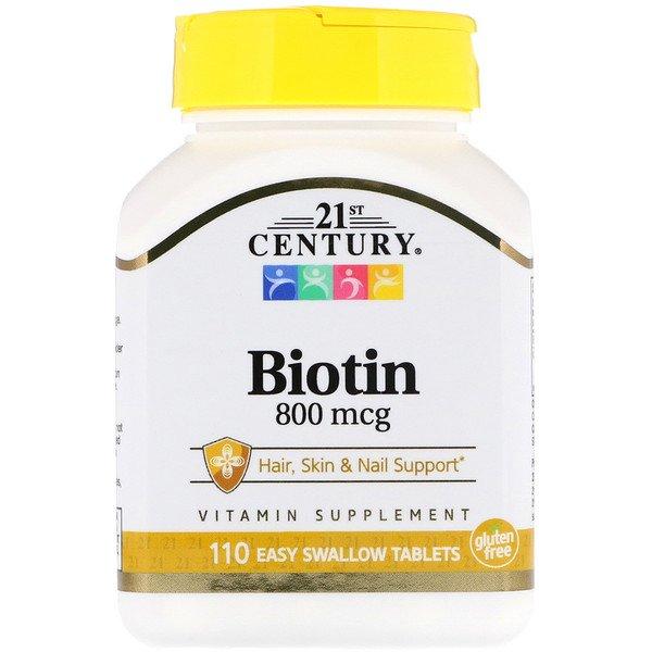 21st Century, Біотин, 800 мкг, 110 легкопроглативаемие таблетки