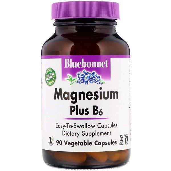 Bluebonnet Nutrition, Магній плюс B6, 90 рослинних капсул