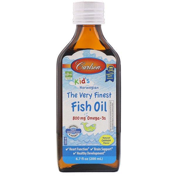Carlson Labs, Kid's, Норвезькій продукт, риб'ячий жир найвищої якості, С натуральним смаком лимона, 200 мл