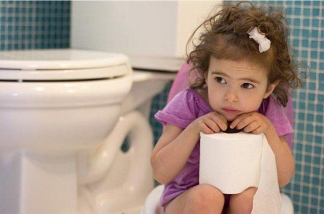 Дівчинка на горщик з туалетного папером