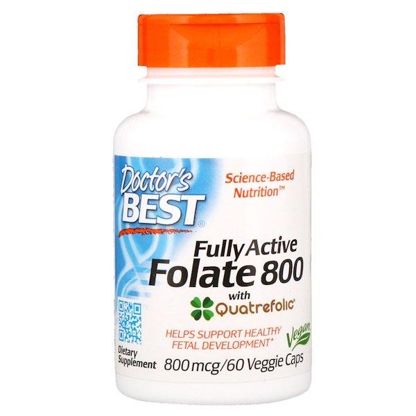 Doctor's Best, Активний фолат 800, 800 мкг, 60 капсул в рослинній оболонці