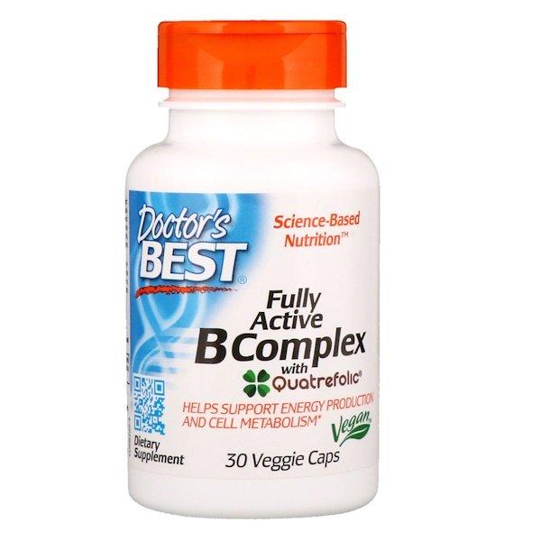 Doctor's Best, Високо активний комплекс вітамінів групи B, 30 капсул в рослінній оболонці