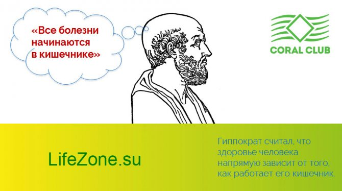 давньогрецький лікар Гіппократ, один з основоположників медичної науки, сказав: «Усі хвороби починаються в кишечнику»