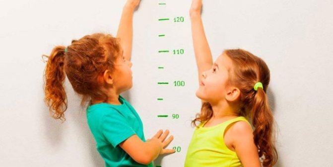 Дві дівчинки у мірній шкали зростання