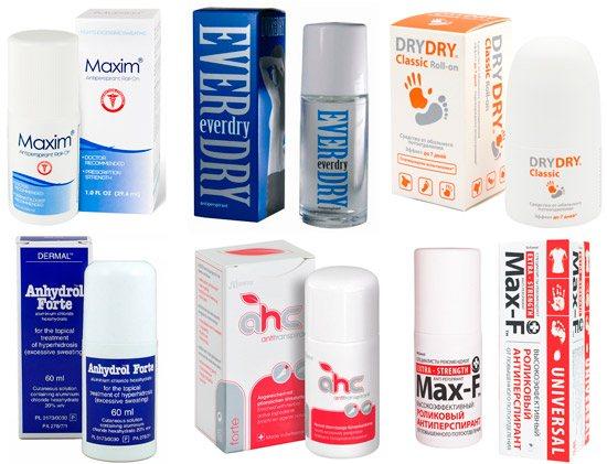 ефектівні антіперспіранті: Maxim, Everdry, Dry Dry и ін.