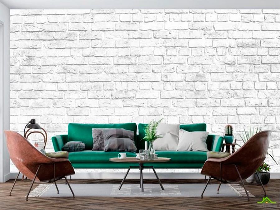 Качественные фотообои белые кирпичи в стиле лофт (товар и фото магазина https://domfotooboev.com.ua/)