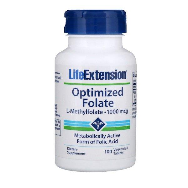 Life Extension, Оптимізований фолат, 100 мкг, 100 таблеток в рослинній оболонці