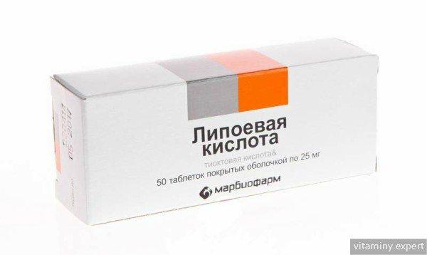 Ліпоєва кислота в таблетках