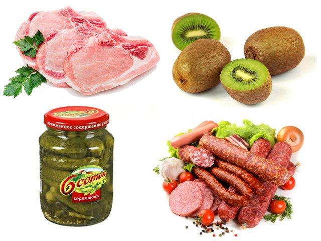 М'ясо, ковбаси, мариновані овочі