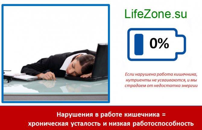Порушення в роботі кишечника = хронічна втома і низька працездатність