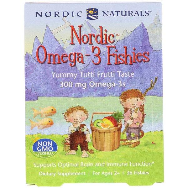 Nordic Naturals, Цукерки у виде рибок від Nordic з омега-3, зі смаком зацукрованіх фруктів, 300 мг, 36 цукерок