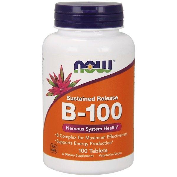 Now Foods, B-100, з уповільненім вівільненням, 100 таблеток