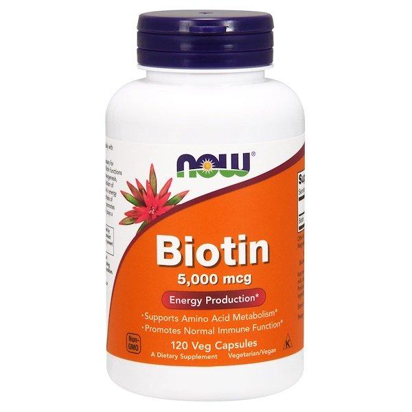 Now Foods, Біотин, 5000 мкг, 120 рослинних капсул