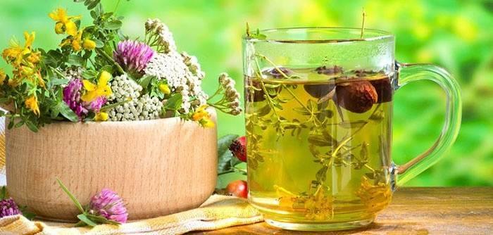 Відвар в чашці і лікувальні трави