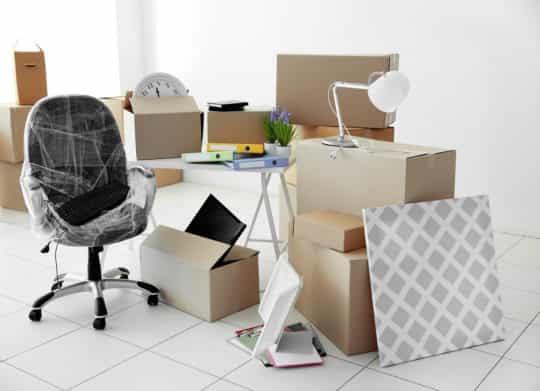 Упакованные предметы для переезда
