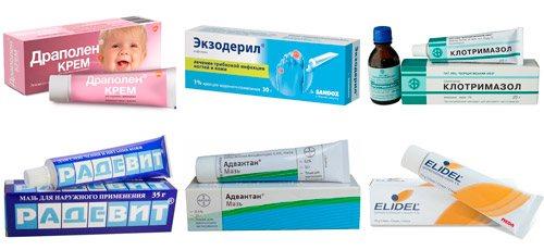 препарати для зовнішньої терапії: Драполен, Екзодеріл, Клотримазол, Радевіт, Адвантан, Пімекролімус