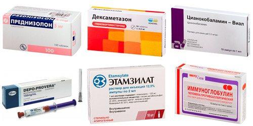 препарати, что вплівають на тромбоцити в крови: Преднізолон, Дексаметазон, Ціанокобаламін, Депо-Провера, етамзилат, Імуноглобулін