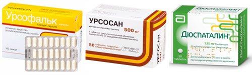 Приклади препаратів: Урсофальк, Урсосану, Дюспаталін