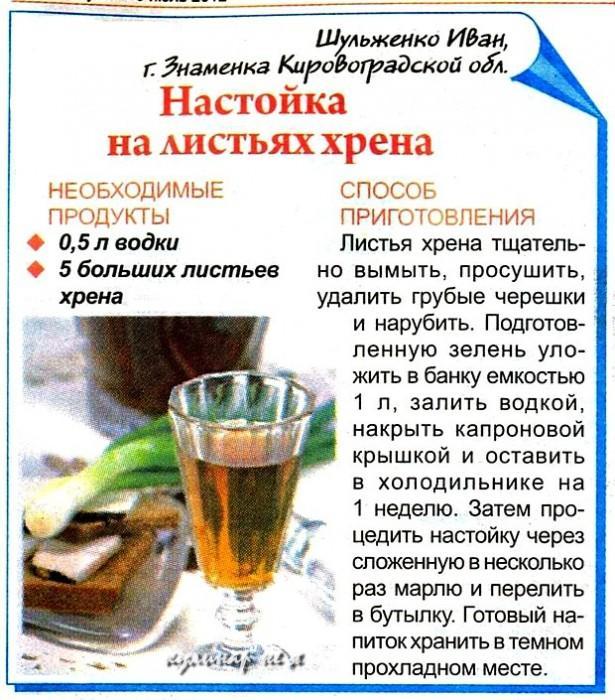 Рецепт настоянки на листках хрону