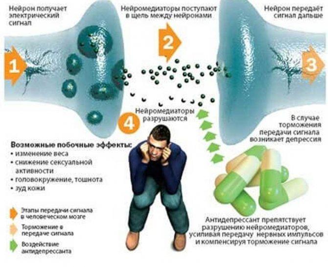 Схема впліву алкоголю и антідепресантів на людину