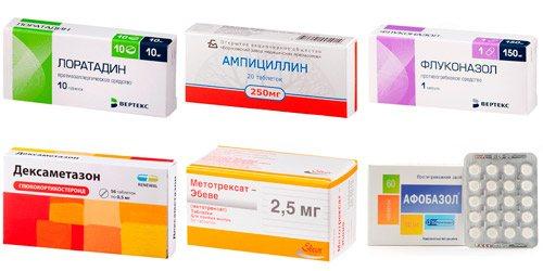 Системні лікарські засоби: Лоратадин, Ампіцілін, Флуконазол, Дексаметазон, Метотрексат, Афобазол