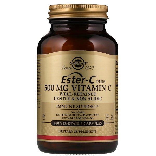Solgar, Ester-C Plus, Вітамін C, 500 мг, 100 вегетаріанських капсул