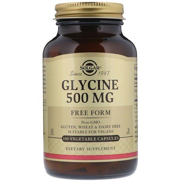Solgar, Гліцин, 500 мг, 100 рослинних капсул