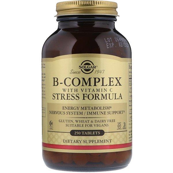 Solgar, Комплекс вітамінів B, з вітаміном C, формула проти стрес, 250 таблеток
