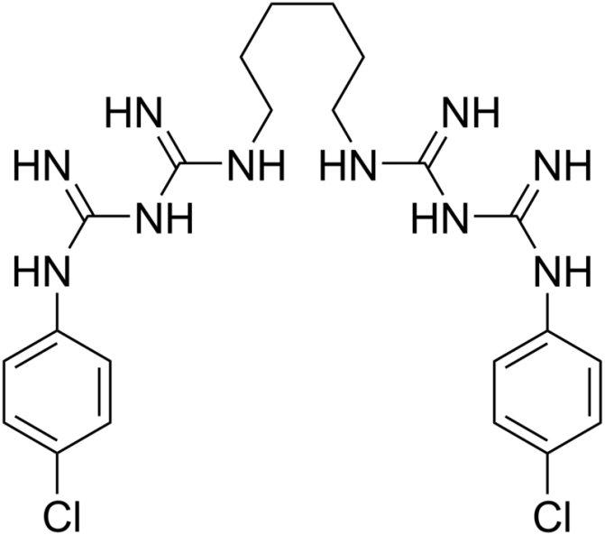 Структурна формула Хлоргексидина C22H30Cl2N10