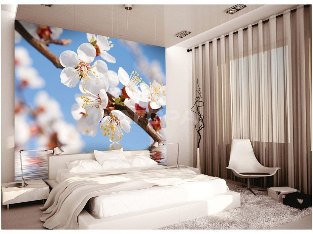 Весенние фотообои в интерьере спальной комнаты