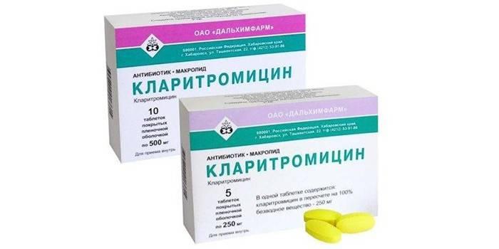 Таблетки Кларитроміцин в упаковці