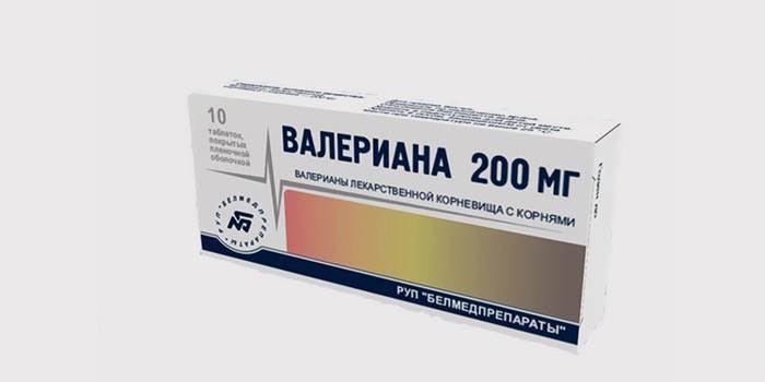 Упаковка валеріани в таблетках