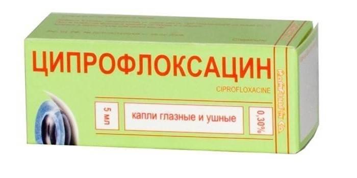 Вушні и очні краплі Ципрофлоксацин в упаковці