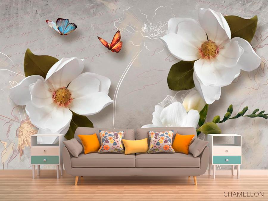 Качественные фотообои 3D: Цветы (товар и фото компании https://chameleons.com.ua/)
